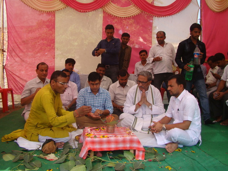 The DM of Mathura inaugurating the restoration work