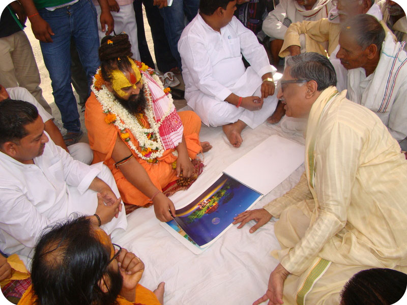 HH Rajendra Das ji seeing the plans of projected site