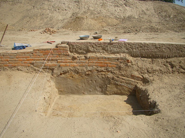 Excavation of ancient wall by ASI team