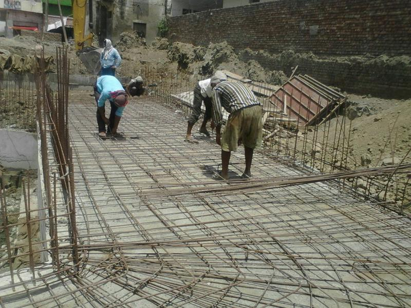 Reinforcement work at Toe wall of Rinmochan Kund