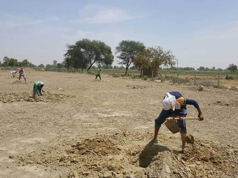 Pits being dug for tree plantation at Brahma Jhadi
