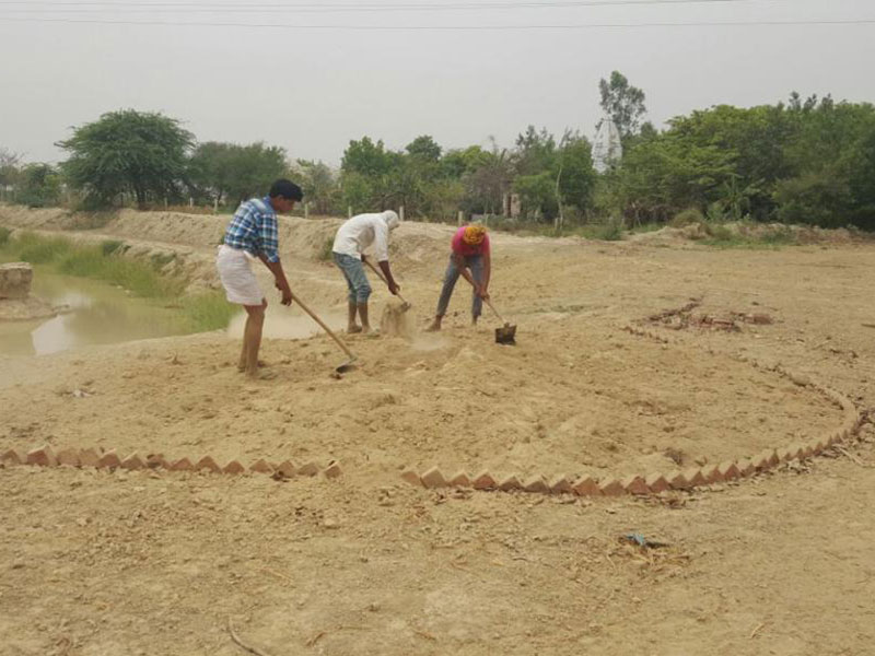 Pathways being built at Brahma Jhadi