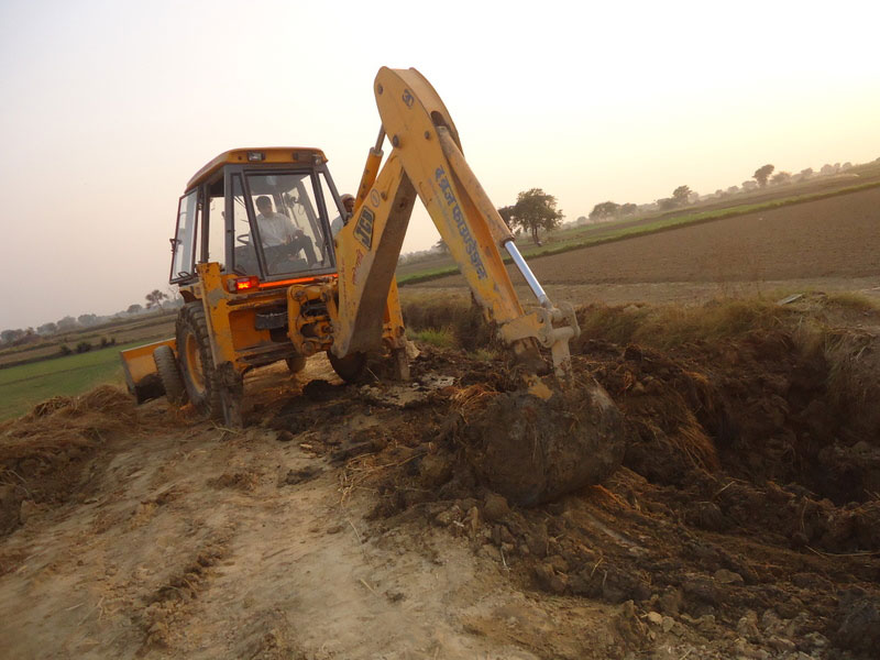 Construction of drain to divert dirty water