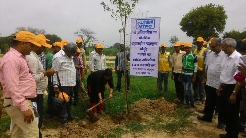 NTPC Officials planting trees at Brahma Jhadi