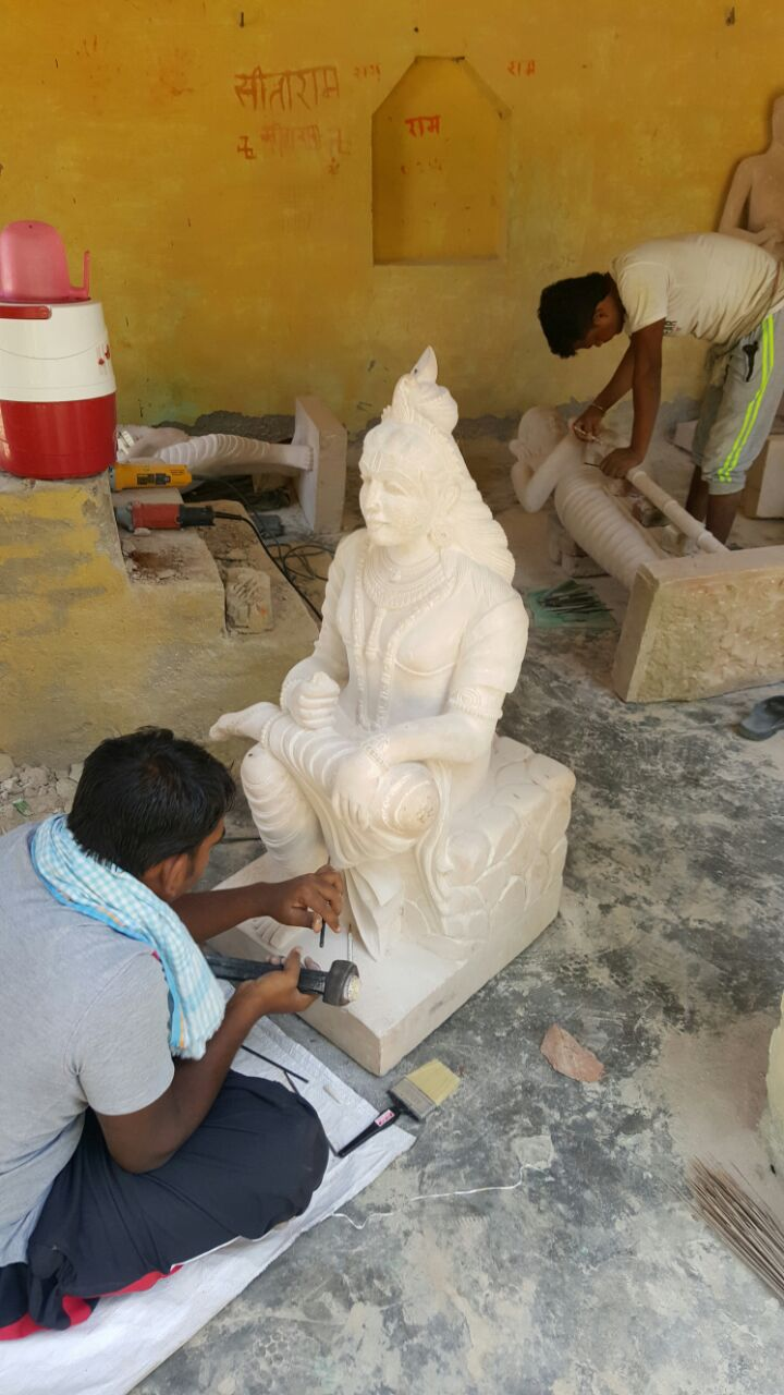Statue of Brahma Ji being given final touch