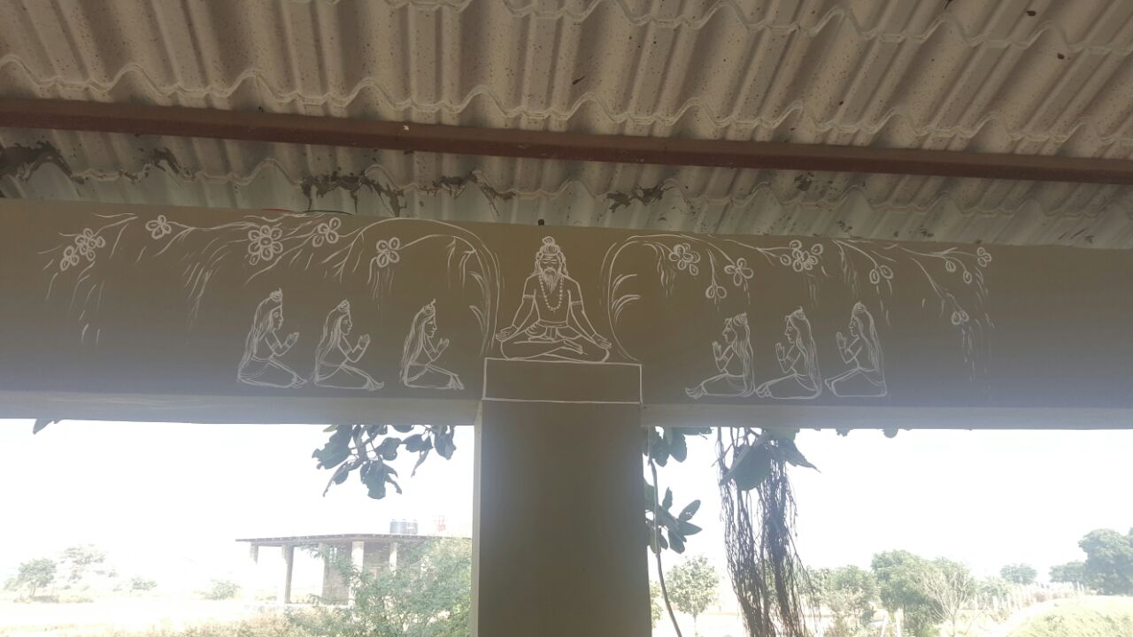 Paintings on the walls of Yagyashala